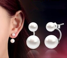 1$ lose money promotion wholesale 925 sterling silver fashion double pearl ladies`stud earrings jewelry gift