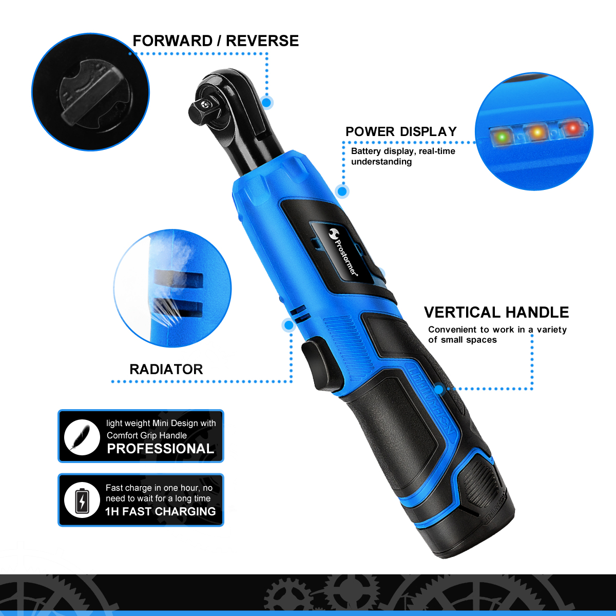 Image 3 - PROSTORMER 12V Electric Wrench Kit 3/8 Cordless Ratchet Wrench Rechargeable Scaffolding 40NM Torque Ratchet With Sockets Tools-in Electric Wrenches from Tools on