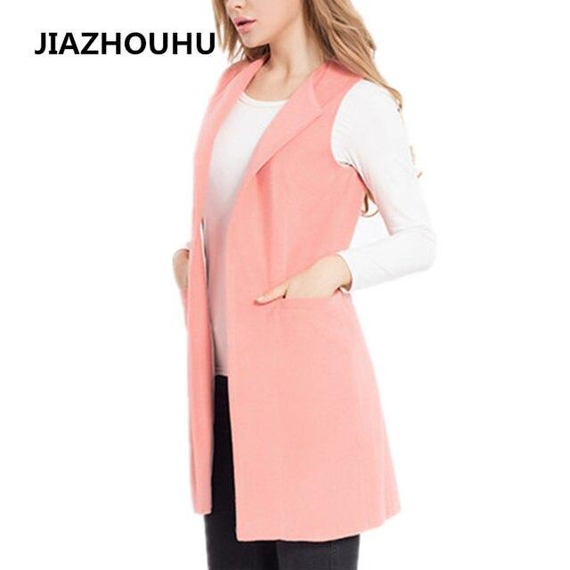 Элегантные весенние Для женщин жилет тонкий длинный плюс Размеры женский Вязаные Жилеты для женщин карман Осень пальто без рукавов куртка длинный жилет розовый кардиган