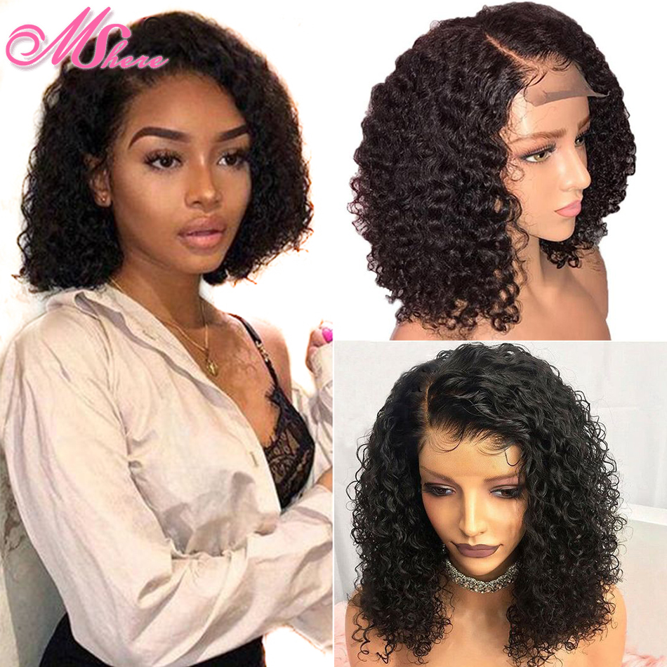 Mshere Short Curly Human Hair Wigs Brazilian Bob Lace Front Human Hair Wigs For Black Woman
