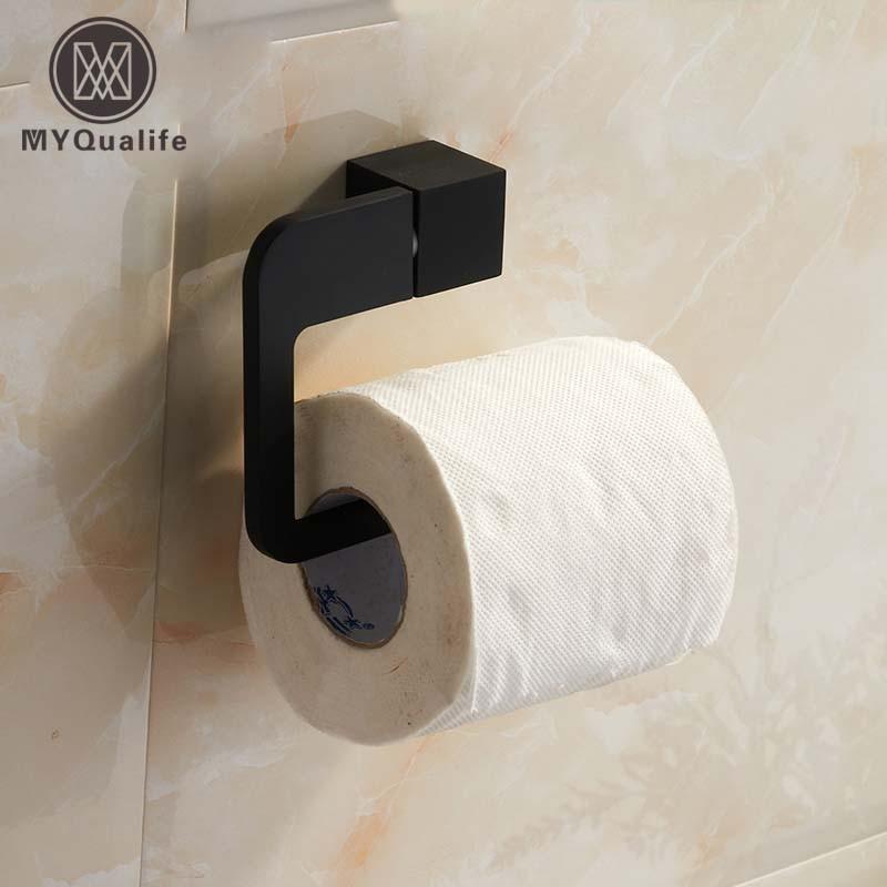 ΞEnvío Gratis negro papel titular Rod montaje en pared de baño rollo ...