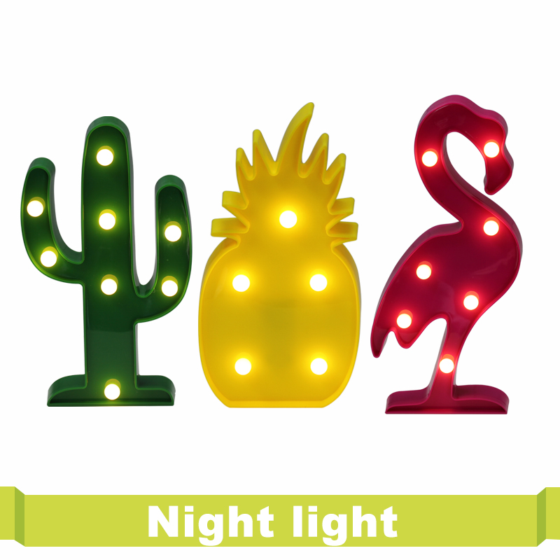 LED Night Light Novelty Luminaria Flamingo Cactus 3D Lamp Marquee Letter Light For Children Home Decoration Pineapple Table Lamp ropio 3d night light box led table lamp marquee giraffe battery operated for children s room wedding party birthday decoration