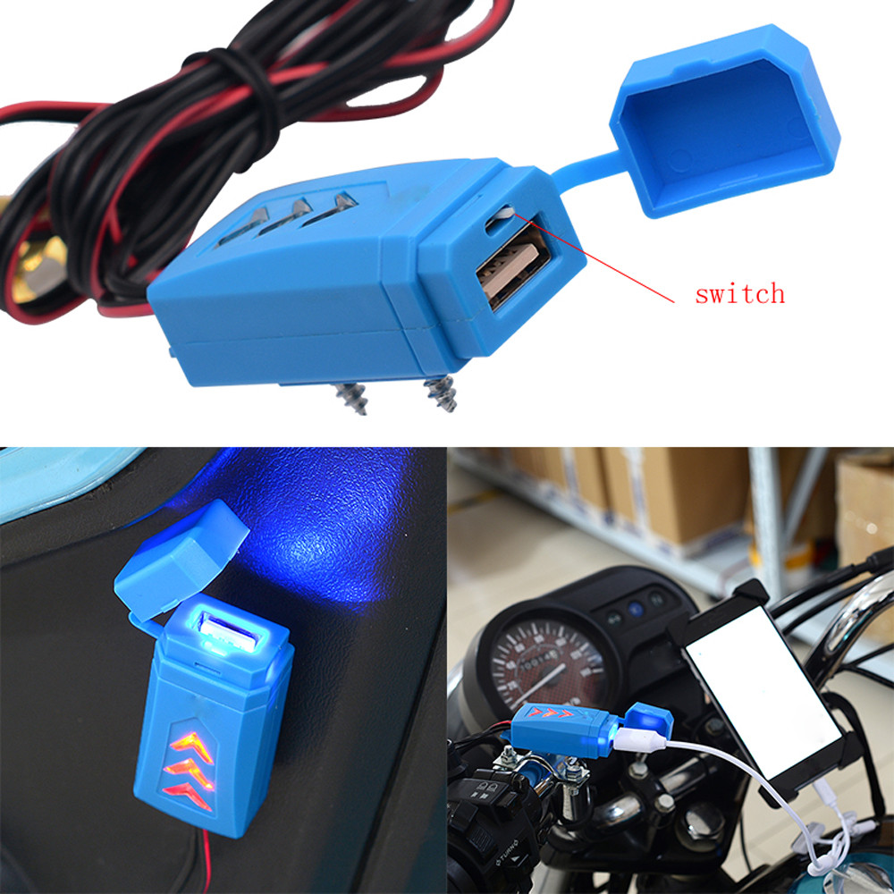 Image 2 - 5V Waterproof USB Motorcycle Cell Phone Charging USB Charger With Switch cellphone tablet car charger Motorcycle Accessories-in Cables, Adapters & Sockets from Automobiles & Motorcycles