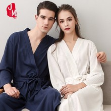 3fd37d9ca7 Las mujeres ropa de dormir pijamas Waffle batas sólido de verano de algodón  Kimono bata de