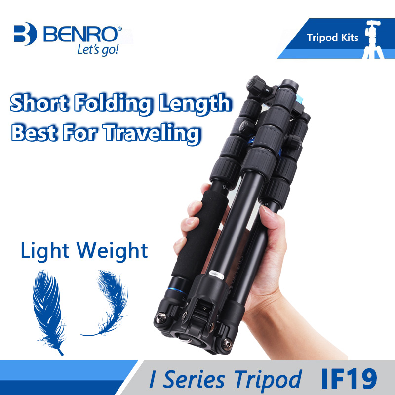 Benro IF19 Tripod Aluminium Portable Travel Tripods For Camera Reflexed Monopod 5 Section Carrying Bag Max