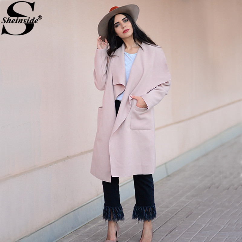 Sheinside Pink Drop Shoulder Drape Collar Wrap Coat 2017 Fall Elegant Waterfall Collar Knee Length Work Outerwear With Belt