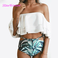 StarHonor Doubledeck Flouncing Swimsuit Printed Bikini Bathing Suit High Waist Swiming Suits Off Shoulder Swimwear Plus