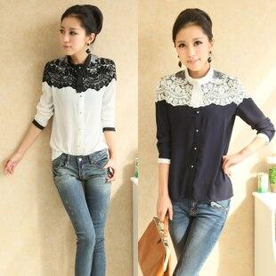 2013 New Casual Fashion Women Top Button Shirt Chiffon Blouse Office OL Shirts Sheer Tops 3 colors S,M,Lfree shipping