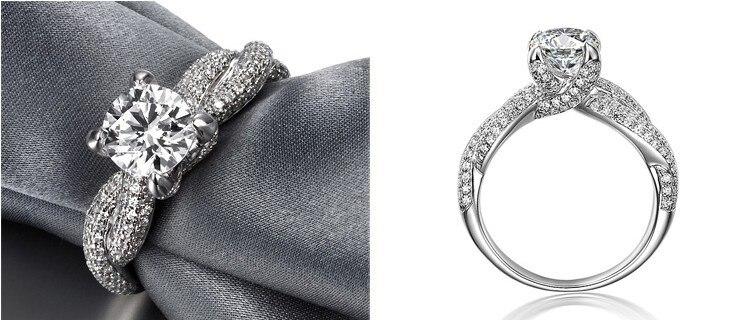 Takı ve Aksesuarları'ten Nişan Yüzükleri'de Büküm Ayarı Kaplamalı Benzersiz Tasarımcı 1Ct Sentetik Elmas Nişan Yüzüğü Kadınlar için Düğün Gümüş Takı'da  Grup 3