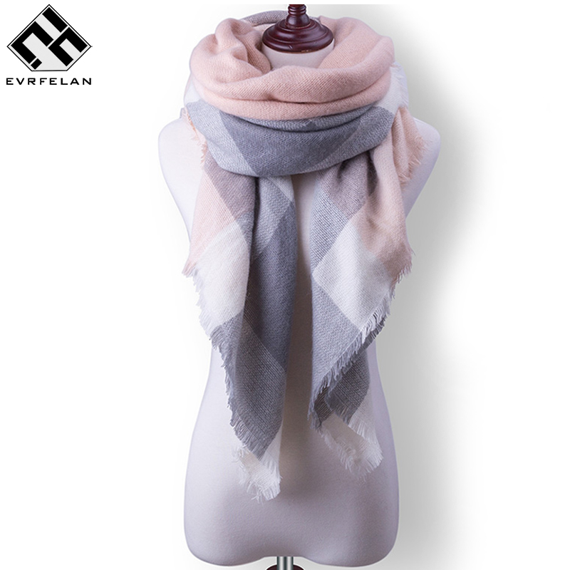 2017 New Plaid Women Scarf Warm Winter Scarf Women Blanket Shawls Soft Cashmere Scarf Scarves Large Luxury Brand Drop Shipping