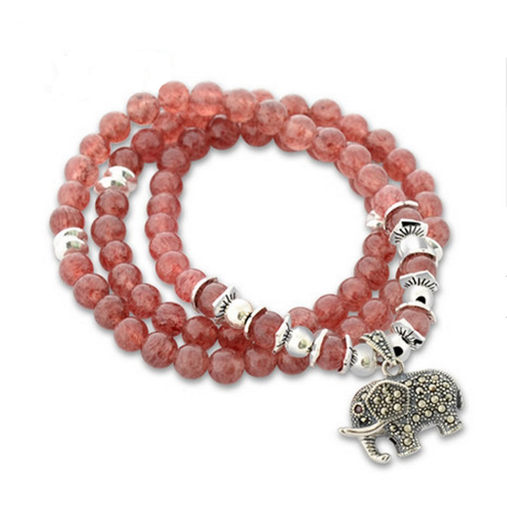 Jade Angel Women 6mm Natural Strawberry Quartz Beads 3 Rows Strand Bracelet with Silver Charm Fine Jewelry  Design BraceletJade Angel Women 6mm Natural Strawberry Quartz Beads 3 Rows Strand Bracelet with Silver Charm Fine Jewelry  Design Bracelet