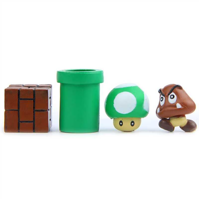 Super Mario Bros Cogumelo Toad Mini Figuras de Ação Mario Yoshi Brinquedos Nendoroid PVC Decorações De Aniversário Questão Blocos De Brinquedo Mini