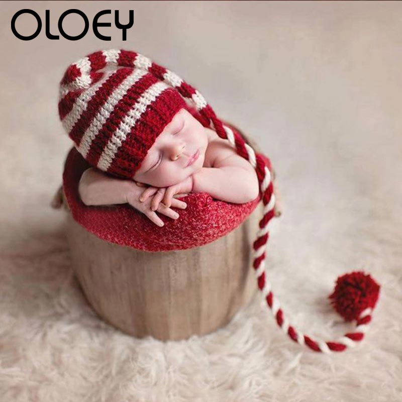 Christmas Newborn knitting Long Tails Beanie Hat Infant Photography Props Red White Stripe Crochet Pompom Baby Hats Baby Props