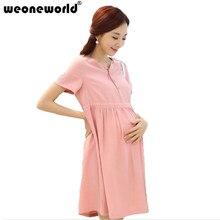 f9e806ea27f WEONEWORLD Linen Cotton Summer Pregnancy Clothes 2018 Short Sleeved Maternity  Dresses Fashion Korean style For Pregnant Women