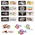 Hot Sale 200pcs/lot Glitter Tattoo Stencis For Temporary Airbrush Body Art Paint  Free Shipping-Latest Templates