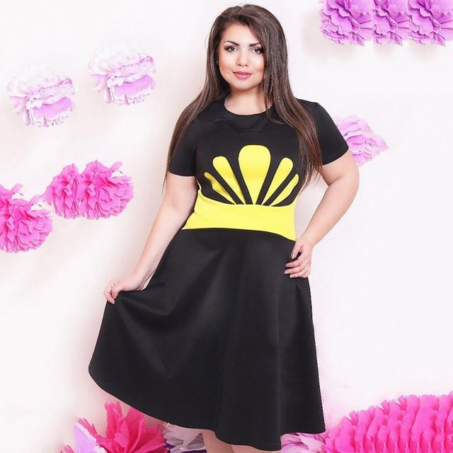 Moda elegantes mulheres vestidos de verão tamanho grande NOVO 2015 plus size L-6xl roupas femininas vestido casual o pescoço vestido de Uma Linha de Impressão