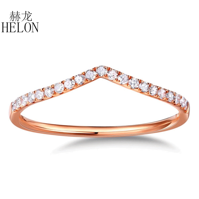 HELON Real Diamonds Band Women s Fine Jewelry Solid 10K Rose Gold Pave Natural Diamonds Engagement