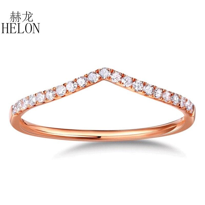 HELON Real Diamonds Band Women's Fine Jewelry Solid 10K