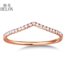 HELON Half Eternity Band Women's Fine Jewelry Solid 10K Rose Gold Pave Natural Diamonds Engagement Wedding Eternity Fine Ring solid 14k rose gold natural diamonds engagement ring women wedding band anniversary party vintage ring fine jewelry