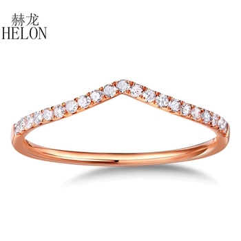 HELON Real Diamonds Band Women's Fine Jewelry Solid 10K Rose Gold Pave Natural Diamonds Engagement Wedding Eternity Fine Ring image