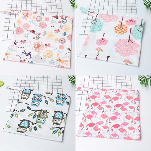 27*30cm waterproof printed PUL nappy bag washable breathable wet bag for diapers storage travelling bag