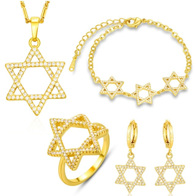 NAKELULU  Jewish Jewelry Magen Star of David Necklace Bracelet Ring And Earrings Gold color Israel Wedding Bridal Jewelry Sets