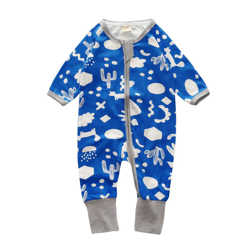 Newborn Infant Baby Boys Long Sleeve Zipper Print Bule Romper Jumpsuit One-Piece Cotton Outfits Clothes 0-2T newborn infant baby girls boys long sleeve clothing 3d ear romper cotton jumpsuit playsuit bunny outfits one piecer clothes kid