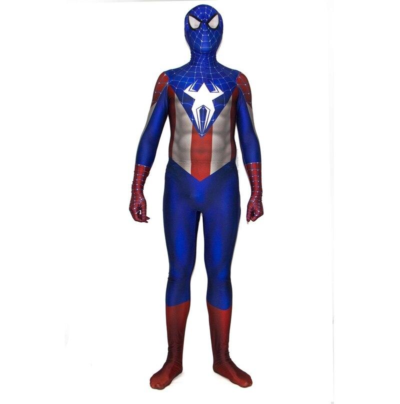 FOGIMOYA Captain America Spider Man Spiderman Cosplay Costume Zentai Superhero Bodysuit Suit Jumpsuits