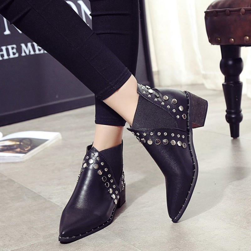 Image 3 - Cuculus PU Leather Ankle Boots For Women 2020 Autumn New Rivet Pointed Toe Rubber Shoes Black Wedges Boots Women 35 39 1423Ankle Boots   -
