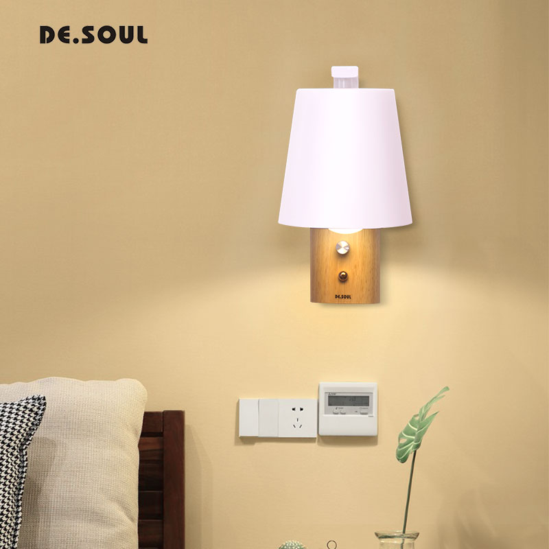 DE.SOUL Wall Lamps Simple Creative Wall Light Wall sconces Light With Switch Indoor Lighting Led Bedroom Bedside Decoration kotion each g9000 gaming headphone headset stereo earphone headband with mic led light for tablet notebook ipad sp4 gamer xbox