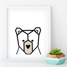 Nordic Animal Bear Canvas Painting Kids Room Wall Art Decor , Nursery Art Minimalist Canvas Print Cute Bear Wall Picture Cartoon(China)