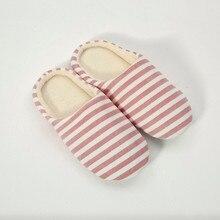 Ladies Home Interior Non-slip Stripes Cotton Shoes Slippers Women Men Warm Striped Slipper Indoors Anti-slip Winter House