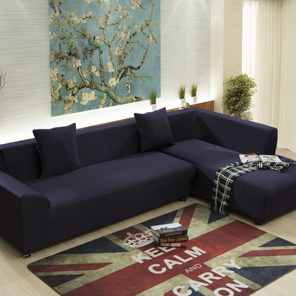 Dark Blue Universal Sofa Cover For Living Room Solid Color Stretch Furniture Covers Multi Size