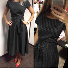 2017 Hot Sale Casual A-Line Dot Women Popular Dress Short Sleeve  Knee-Length Dress Summer Style Sashes Clothes Plus size