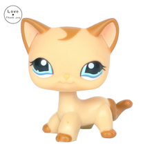 pet shop lps toys short hair Cat Old Rare Style Curl Mocha Tan Kitty toys 1024
