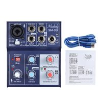 Muslady SM 33 Mini 3 Channel Sound Card Mixing Console Digital Audio Mixer Supports 5V Power Bank USB Power Supply