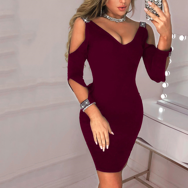 Sexy Party Backless Bodycon Dresses Sexy V Neck Dress Temperament Mini Dress Summer Solid Color Black Red Wine Dress