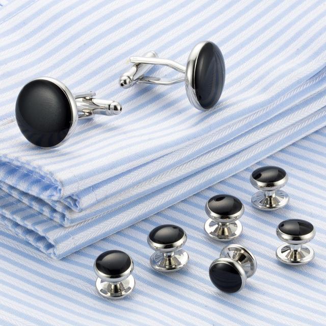 Vagula Enamel Cufflinks Collar Studs 8pcs Top Tuxedo Cuff Links Jewelry 538