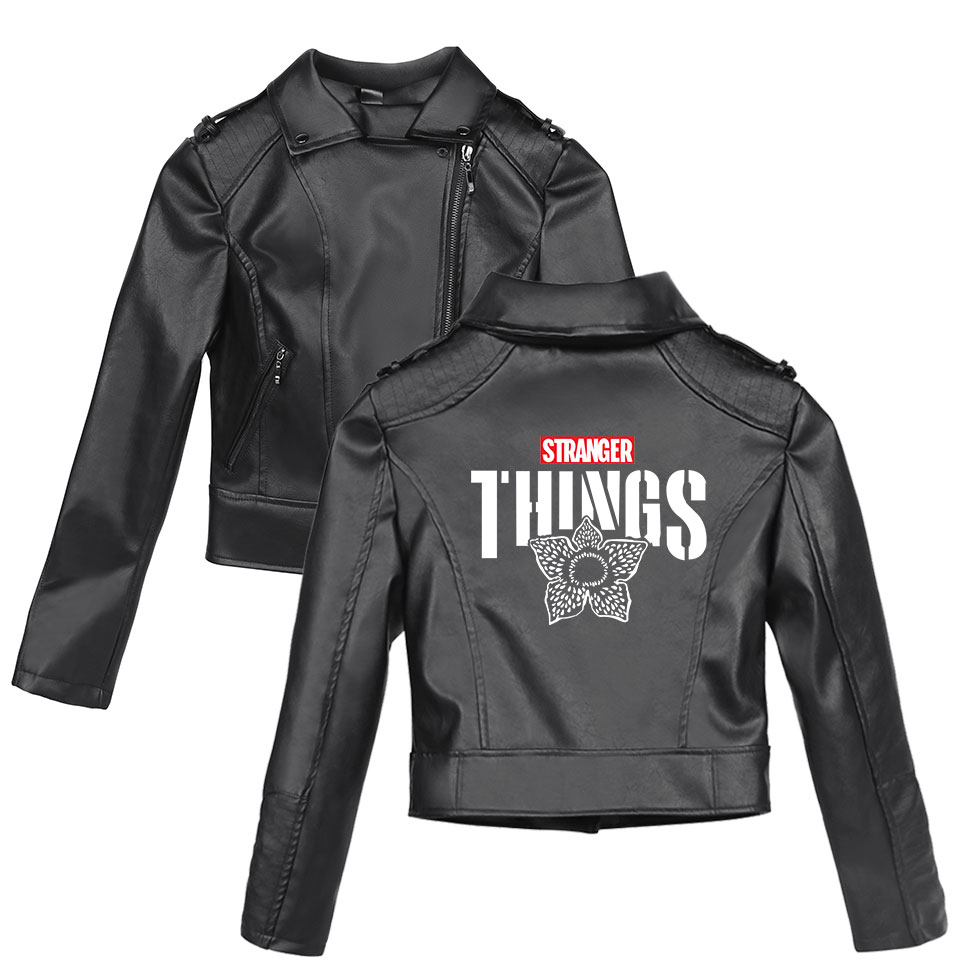 2019 Stranger Things Casual New Women's zipper   leather   jackets