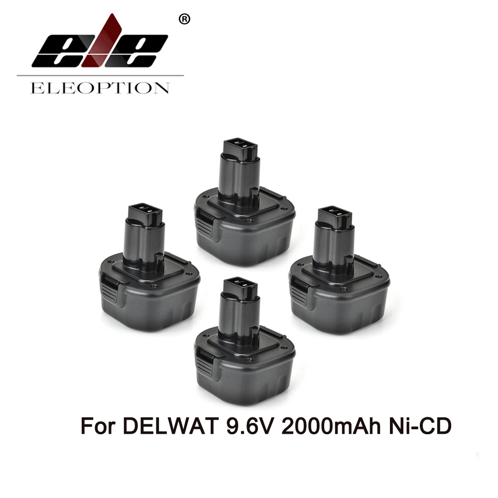 ELEOPTION 4PCS Ni-CD Rechargeable Power Tool Battery for Dewalt DW9061 DW9062 9.6 Volt 9.6V 2.0AH 2000mAh 2 pcs 3 6v 2100mah ni mh rechargeable power tool battery replacement for black