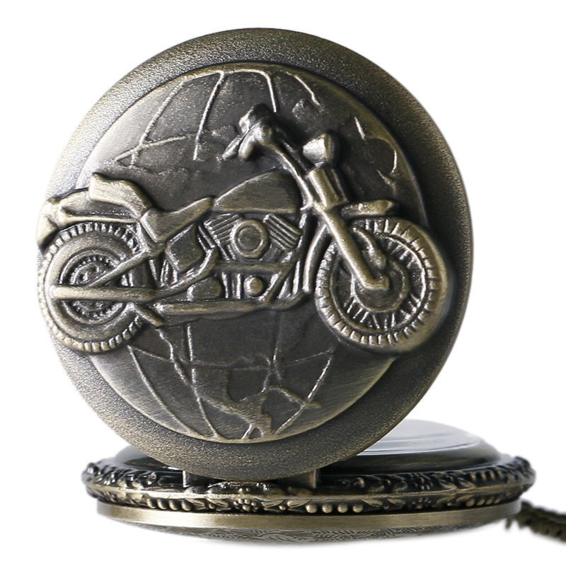 3D Bronze Motorcycle Design Quartz Pocket Watch For Men Women With Necklace Chain Motorbike Bicicleta MOTO Vintage Pendant