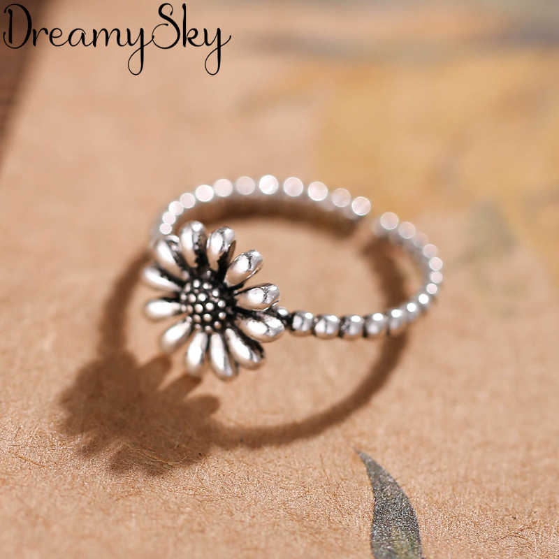 Exaggerated Personality 925 Sterling Silver Sunflower Rings For Women Wedding Jewelry Vintage S925 Open Antique Ring Anillos
