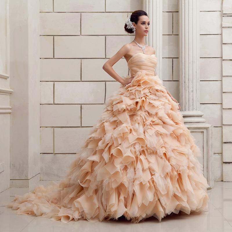 abiti da sposa ruched strapless ruffled organza wedding dress ...