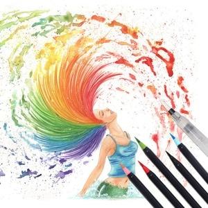 Image 3 - 20 لون قسط اللوحة فرشاة لينة مجموعة أقلام الألوان المائية علامات القلم تأثير أفضل لتلوين كتب المانجا الخط الهزلي