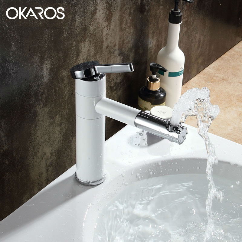 OKAROS Moderm White Faucets Paint Braked Bathroom Basin Faucet 360 Swivel Spout Deck Mount Vessel Sink Water Mixer Tap Torneira new deck mount golden basin faucet white paint swan shape vessel sink mixer tap