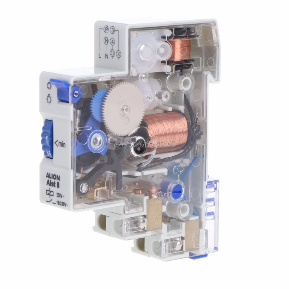 AC 110-230V 7 Min DIN Rail Staircase Din Rail Relay Switch Time Timer Corridor Controller Time Switches R06 Drop Ship 2pcs lot brand new sul 181d analog 24 hours mechanical din rail timer switch 15minutes