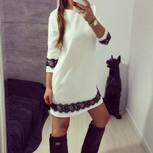 Новинка, женские белые вечерние мини-сарафаны, Пляжное свободное кружевное платье с цветочным рисунком и рукавами три четверти