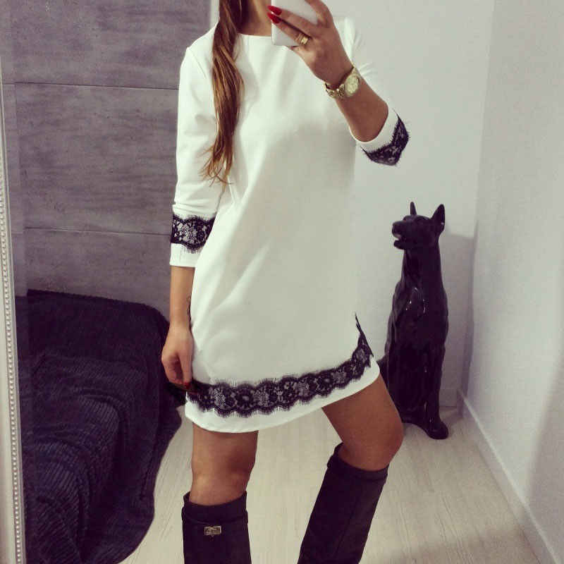 New 2018 Women Lady White Party Mini Sundress Beach Loose Lace Floral Patchwork Three Quarter Sleeve Dress