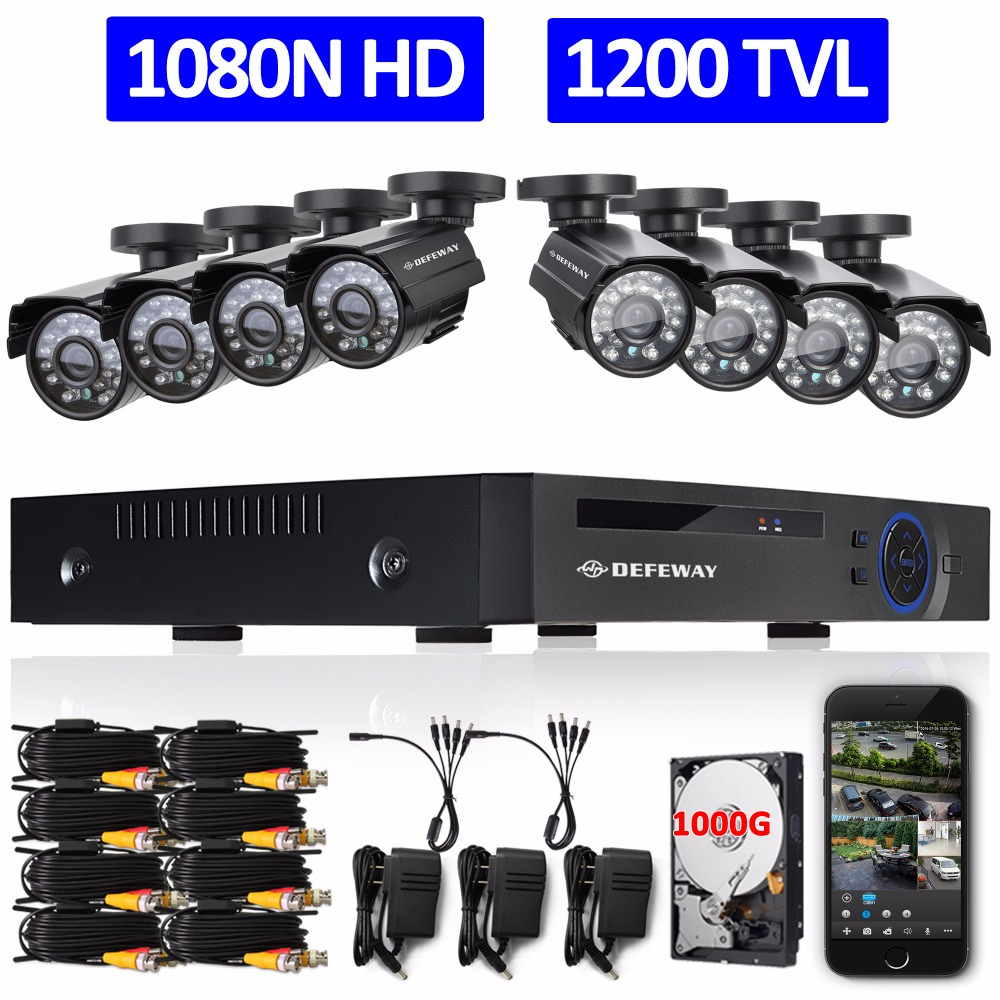 DEFEWAY 720P HD 1200TVL Outdoor font b Security b font Camera System 1080P HDMI CCTV Video