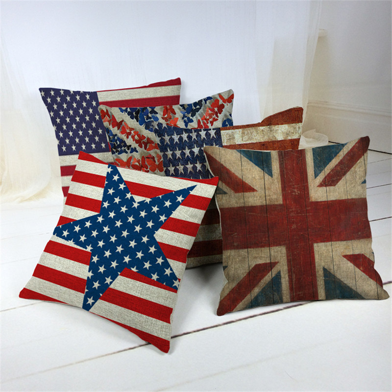 Vintage Style Decorative Throw Pillows Case For Sofa Home Decor Union Jack Flag Cotton Linen Cushion